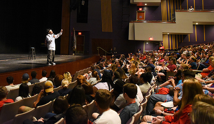 r. Adolph Brown speaks to Shippensburg University students
