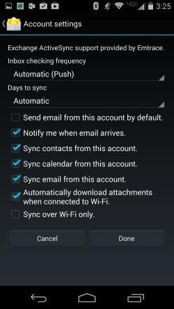 Android Sync settings