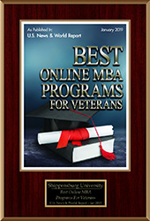 US News and World Report 2019 Best Online MBA Programs for Veterans plaque